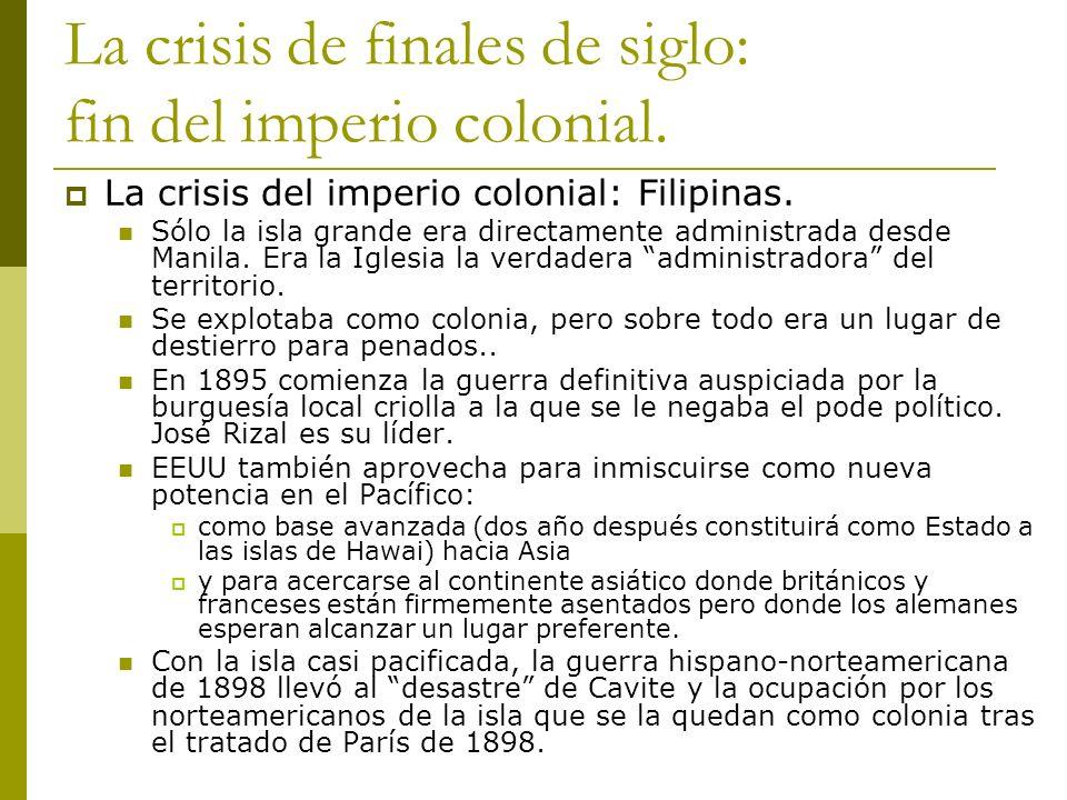 La crisis de finales de siglo: fin del imperio colonial. La crisis del imperio colonial: Filipinas. Sólo la isla grande era directamente administrada