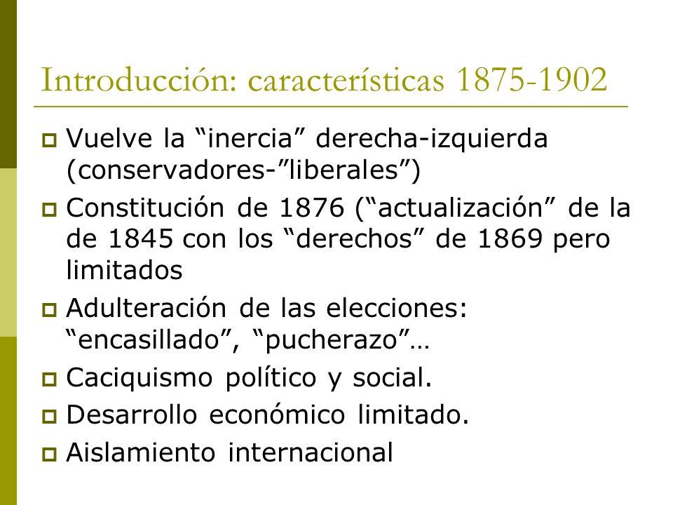 Introducción: características 1875-1902 Vuelve la inercia derecha-izquierda (conservadores-liberales) Constitución de 1876 (actualización de la de 184