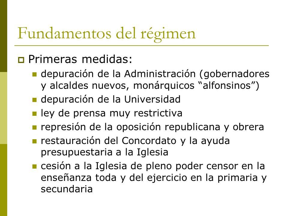 Fundamentos del régimen Primeras medidas: depuración de la Administración (gobernadores y alcaldes nuevos, monárquicos alfonsinos) depuración de la Un