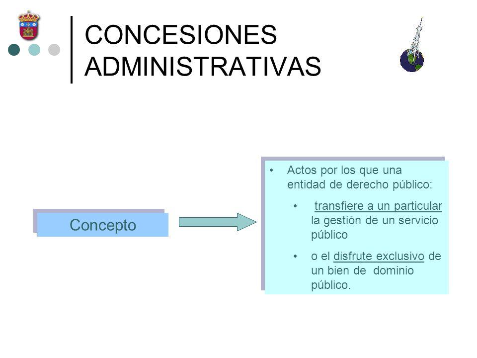 CONCESIONES ADMINISTRATIVAS Actos por los que una entidad de derecho público: transfiere a un particular la gestión de un servicio público o el disfru