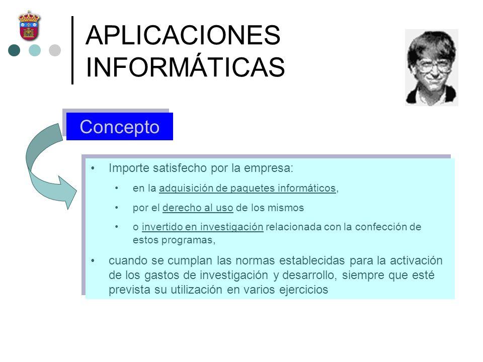 APLICACIONES INFORMÁTICAS Concepto Importe satisfecho por la empresa: en la adquisición de paquetes informáticos, por el derecho al uso de los mismos