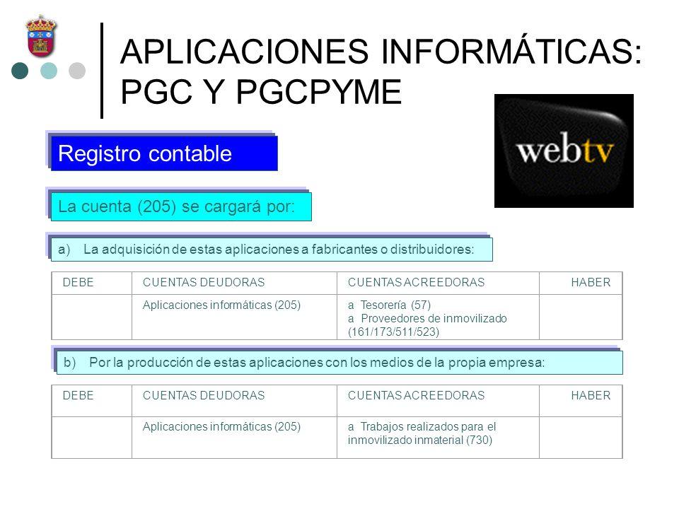 APLICACIONES INFORMÁTICAS: PGC Y PGCPYME La cuenta (205) se cargará por: Registro contable a)La adquisición de estas aplicaciones a fabricantes o dist