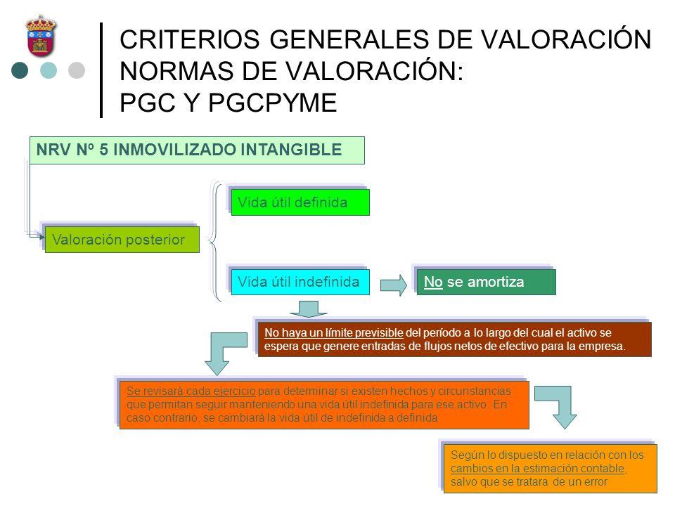 CORRECCIONES VALORATIVAS DEL INMOVILIZADO INMATERIAL: PGC Y PGCPYME Pérdidas de carácter irreversible corregir la valoración del activo contabilizando la correspondiente pérdida de ese activo a través de las cuentas del subgrupo 67 del PGC, corrigiendo a su vez el valor amortizable del activo corregir la valoración del activo contabilizando la correspondiente pérdida de ese activo a través de las cuentas del subgrupo 67 del PGC, corrigiendo a su vez el valor amortizable del activo