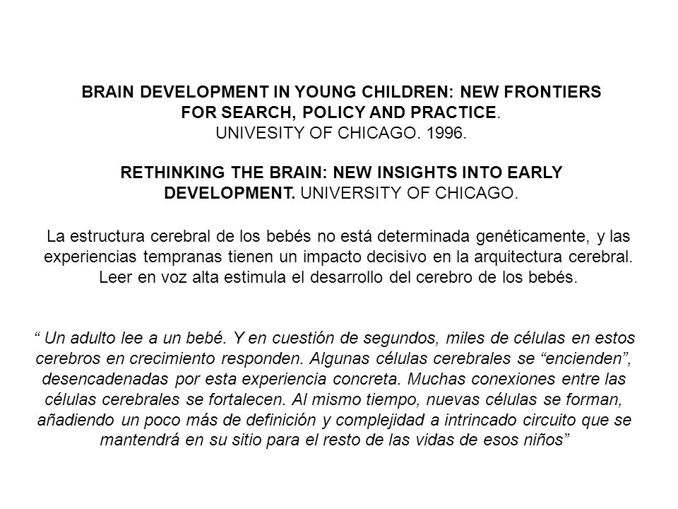 BRAIN DEVELOPMENT IN YOUNG CHILDREN: NEW FRONTIERS FOR SEARCH, POLICY AND PRACTICE. UNIVESITY OF CHICAGO. 1996. RETHINKING THE BRAIN: NEW INSIGHTS INT