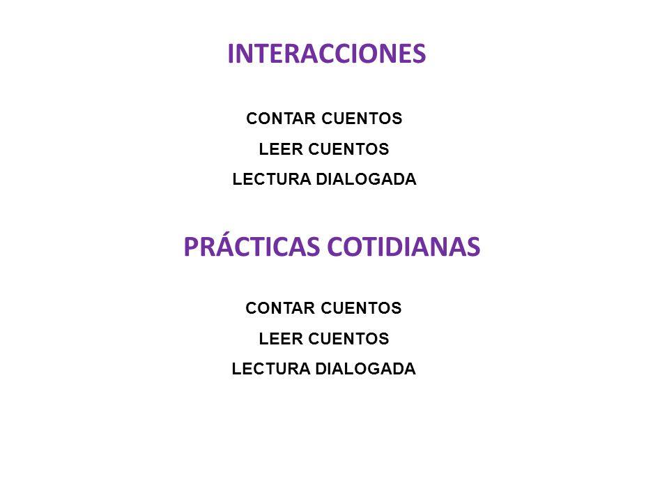 INTERACCIONES CONTAR CUENTOS LEER CUENTOS LECTURA DIALOGADA PRÁCTICAS COTIDIANAS CONTAR CUENTOS LEER CUENTOS LECTURA DIALOGADA