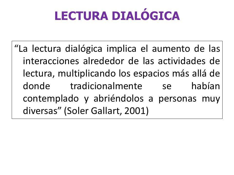 LECTURA DIALÓGICA La lectura dialógica implica el aumento de las interacciones alrededor de las actividades de lectura, multiplicando los espacios más