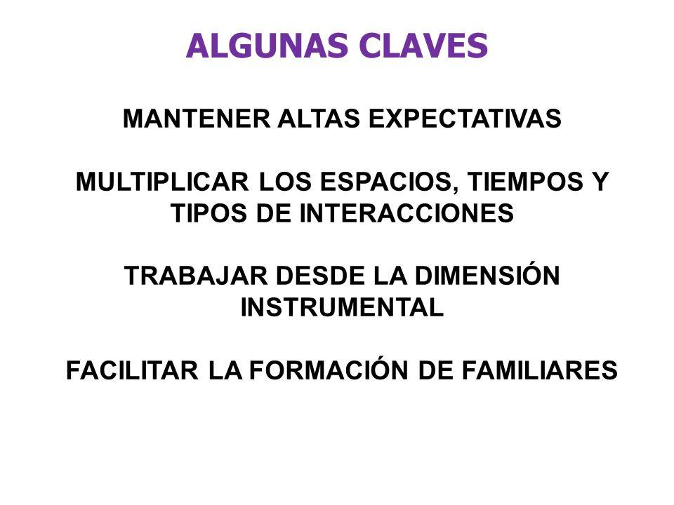 ALGUNAS CLAVES MANTENER ALTAS EXPECTATIVAS MULTIPLICAR LOS ESPACIOS, TIEMPOS Y TIPOS DE INTERACCIONES TRABAJAR DESDE LA DIMENSIÓN INSTRUMENTAL FACILIT