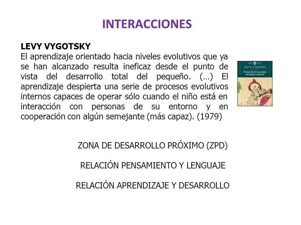 INTERACCIONES ZONA DE DESARROLLO PRÓXIMO (ZPD) RELACIÓN PENSAMIENTO Y LENGUAJE RELACIÓN APRENDIZAJE Y DESARROLLO LEVY VYGOTSKY El aprendizaje orientad