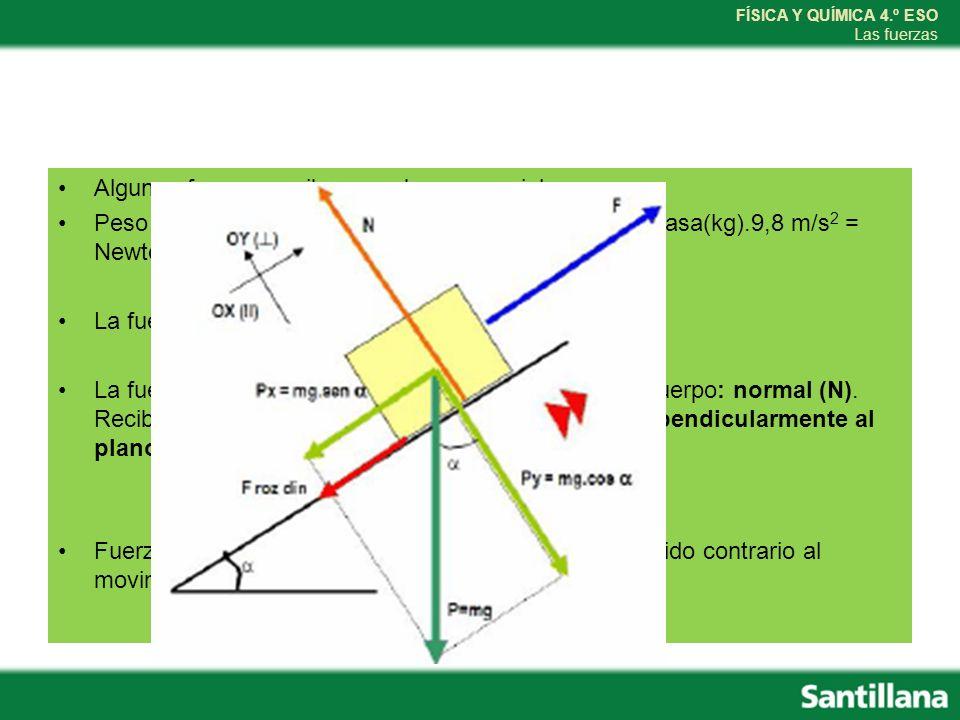 FÍSICA Y QUÍMICA 4.º ESO Las fuerzas Algunas fuerzas reciben nombres especiales: Peso = fuerza gravitatoria ejercida por la Tierra P = masa(kg).9,8 m/s 2 = Newton (N) La fuerza ejercida por cuerdas: tensión(T) La fuerza ejercidas por el plano en que se apoya el cuerpo: normal (N).