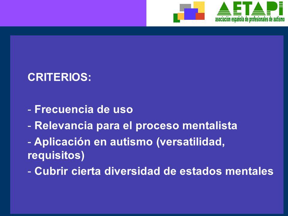 CRITERIOS: - Frecuencia de uso - Relevancia para el proceso mentalista - Aplicación en autismo (versatilidad, requisitos) - Cubrir cierta diversidad d