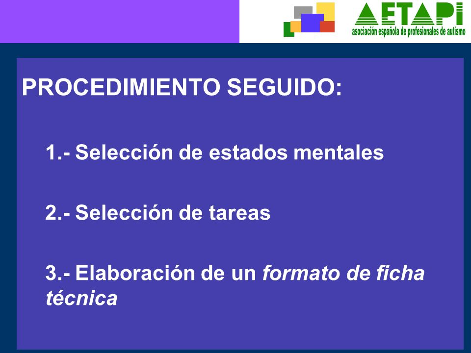 PROCEDIMIENTO SEGUIDO: 1.- Selección de estados mentales 2.- Selección de tareas 3.- Elaboración de un formato de ficha técnica