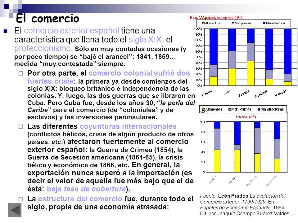 El comercio El comercio exterior español tiene una característica que llena todo el siglo XIX: el proteccionismo. Sólo en muy contadas ocasiones (y po