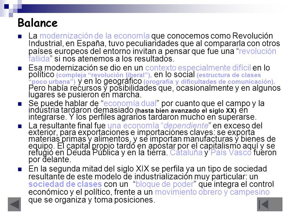 Balance La modernización de la economía que conocemos como Revolución Industrial, en España, tuvo peculiaridades que al compararla con otros países eu