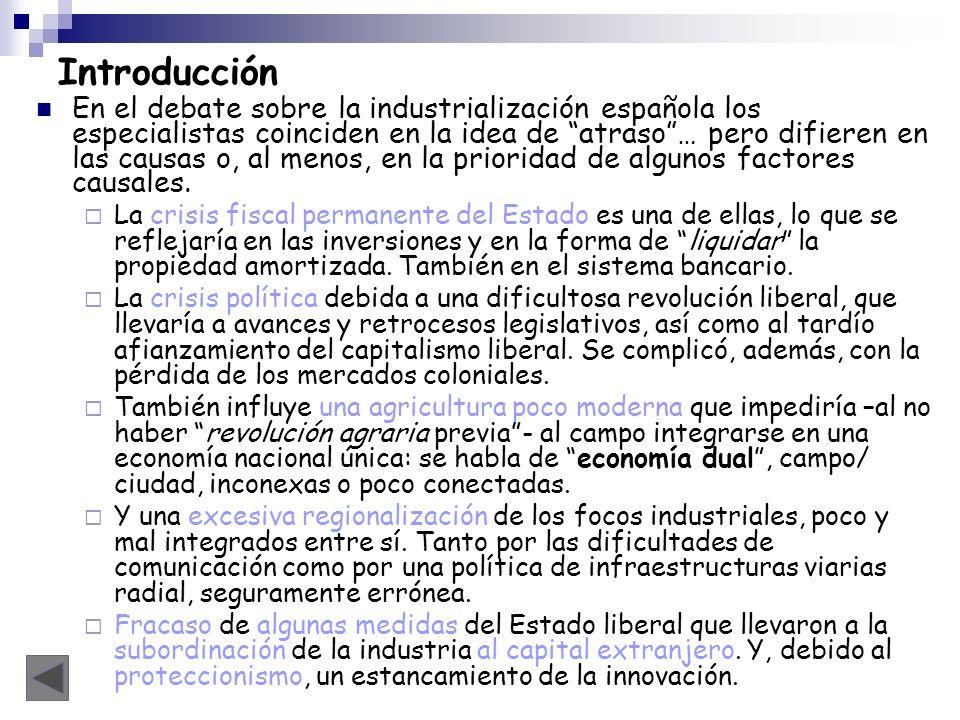 Introducción En el debate sobre la industrialización española los especialistas coinciden en la idea de atraso… pero difieren en las causas o, al meno