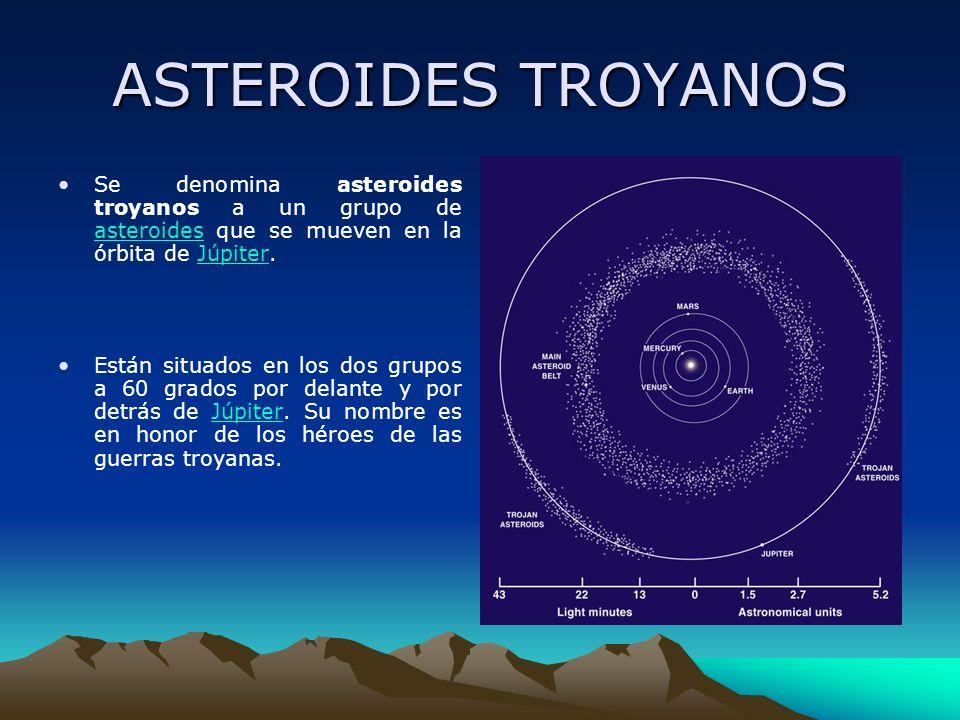 ASTEROIDES TROYANOS Se denomina asteroides troyanos a un grupo de asteroides que se mueven en la órbita de Júpiter. asteroidesJúpiter Están situados e