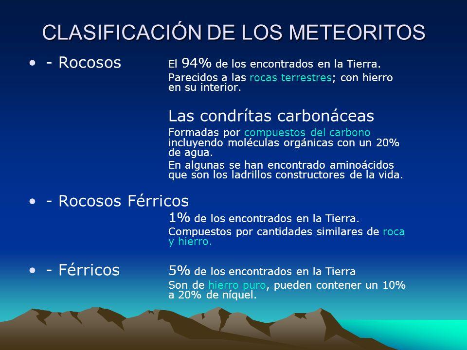 CLASIFICACIÓN DE LOS METEORITOS - Rocosos El 94% de los encontrados en la Tierra. Parecidos a las rocas terrestres; con hierro en su interior. Las con