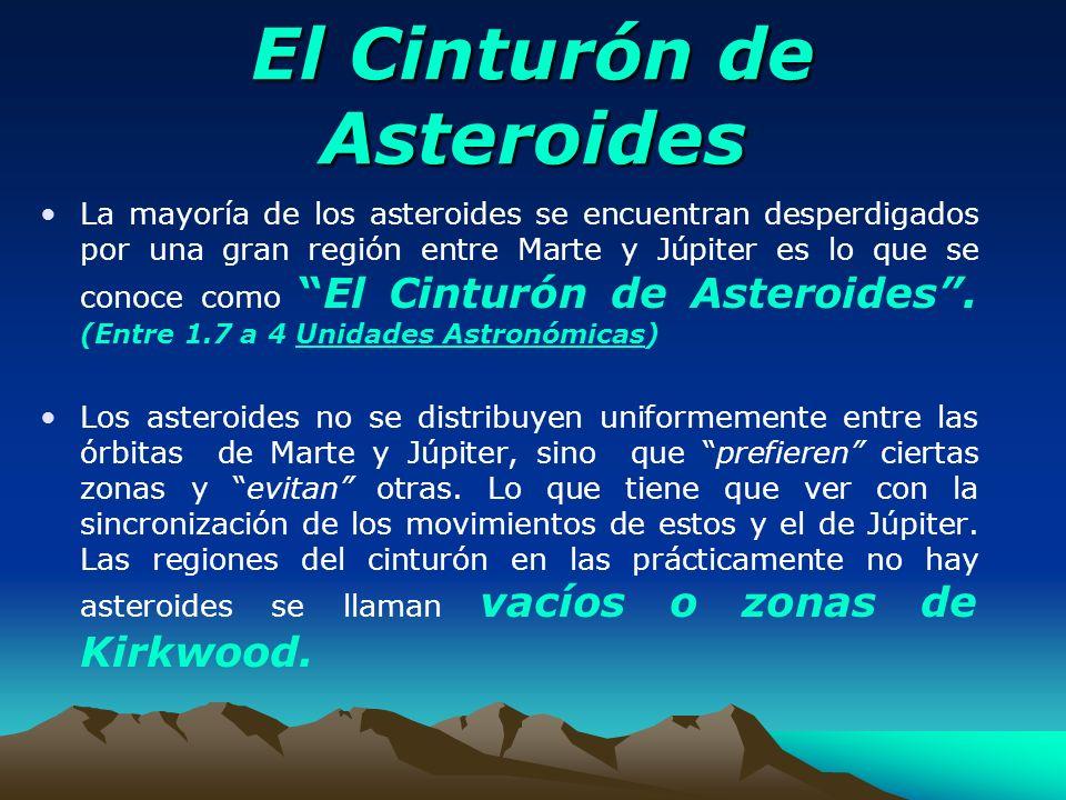 El Cinturón de Asteroides La mayoría de los asteroides se encuentran desperdigados por una gran región entre Marte y Júpiter es lo que se conoce comoE