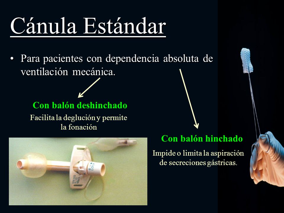 Cánula Estándar Para pacientes con dependencia absoluta de ventilación mecánica. Con balón deshinchado Con balón hinchado Facilita la deglución y perm