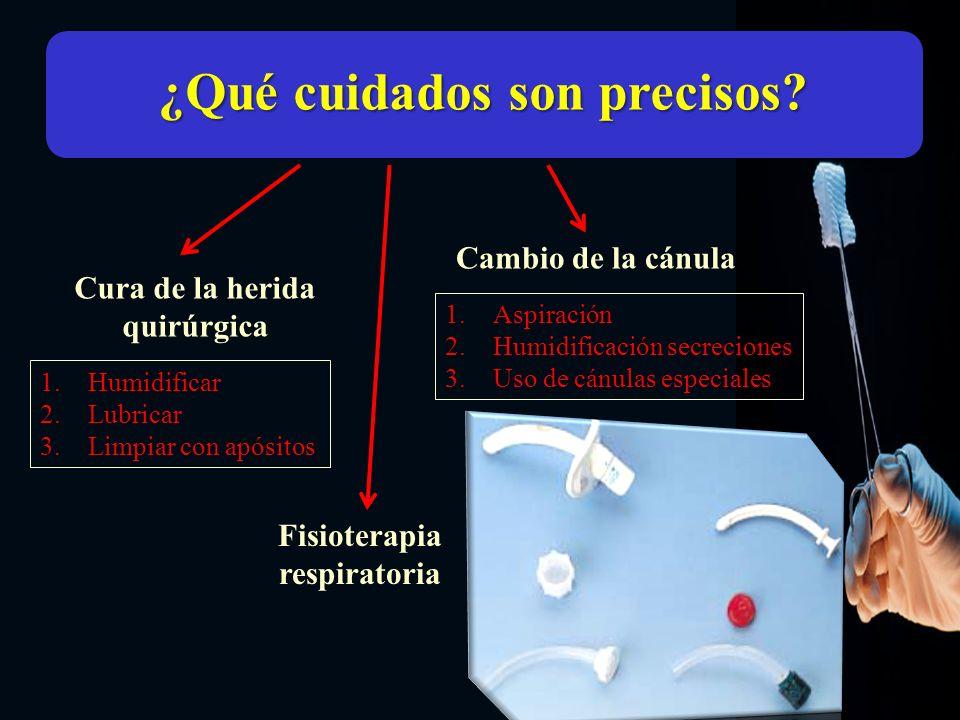 ¿Qué cuidados son precisos? Cura de la herida quirúrgica Cambio de la cánula 1.Humidificar 2.Lubricar 3.Limpiar con apósitos 1.Aspiración 2.Humidifica