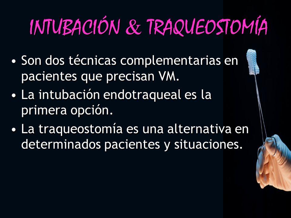 INTUBACIÓN TRAQUEOSTOMÍA Son dos técnicas complementarias en pacientes que precisan VM. La intubación endotraqueal es la primera opción. La traqueosto
