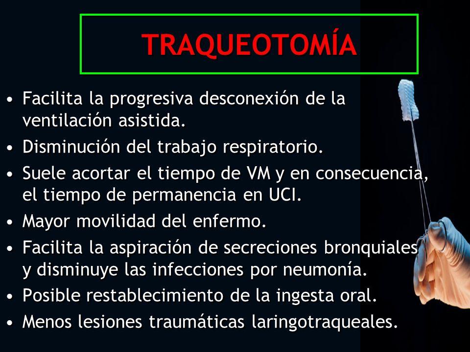 TRAQUEOTOMÍA Facilita la progresiva desconexión de la ventilación asistida. Disminución del trabajo respiratorio. Suele acortar el tiempo de VM y en c
