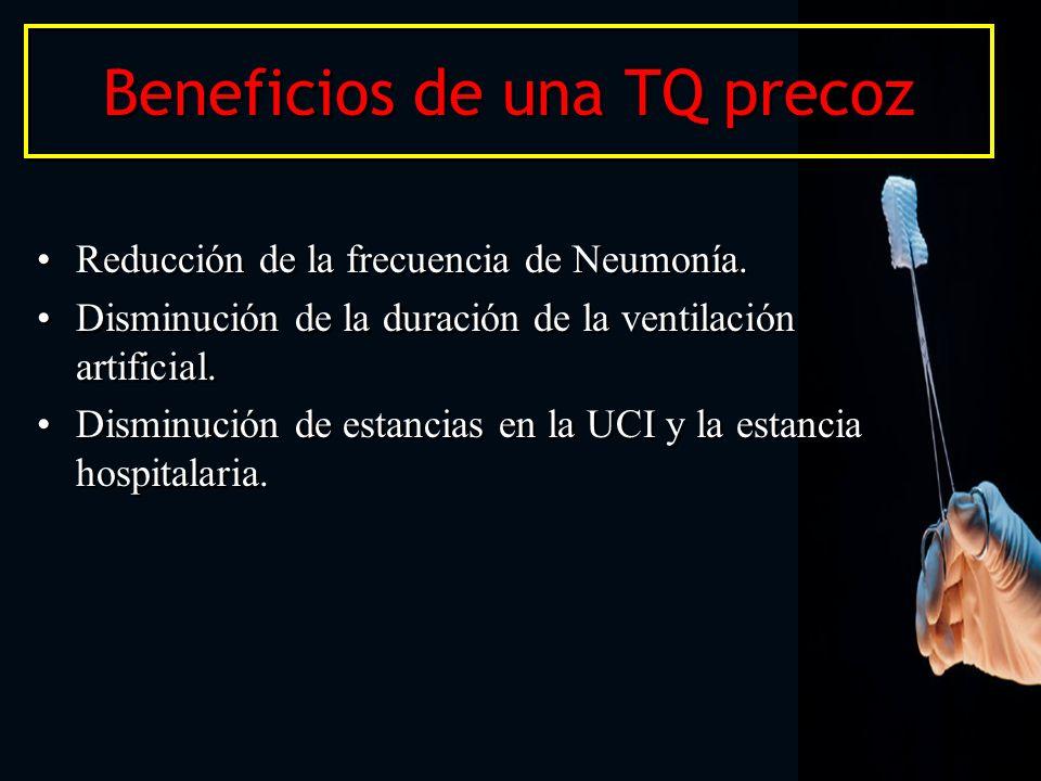 Beneficios de una TQ precoz Reducción de la frecuencia de Neumonía. Disminución de la duración de la ventilación artificial. Disminución de estancias