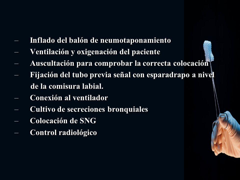 – Inflado del balón de neumotaponamiento – Ventilación y oxigenación del paciente – Auscultación para comprobar la correcta colocación – Fijación del