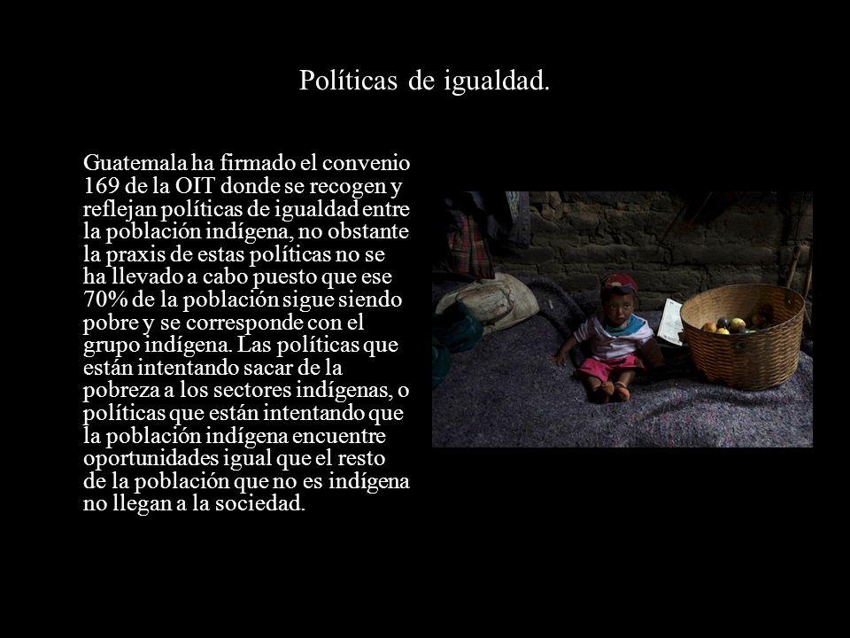 Políticas de igualdad. Guatemala ha firmado el convenio 169 de la OIT donde se recogen y reflejan políticas de igualdad entre la población indígena, n