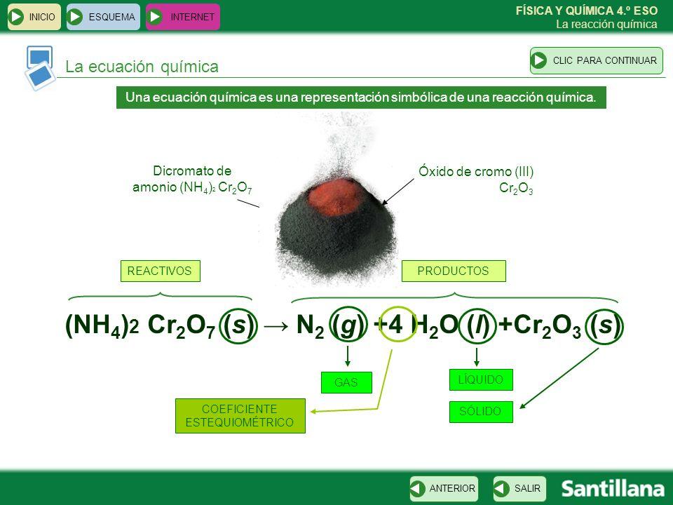 FÍSICA Y QUÍMICA 4.º ESO La reacción química La ecuación química ESQUEMA INTERNET SALIRANTERIORCLIC PARA CONTINUAR INICIO Una ecuación química es una