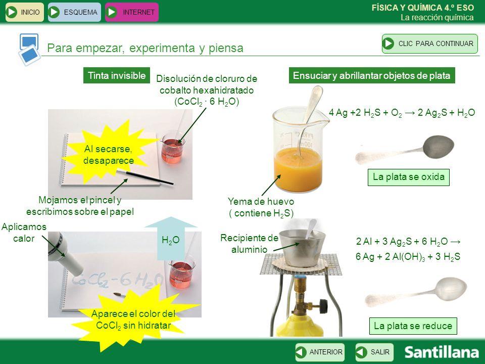 FÍSICA Y QUÍMICA 4.º ESO La reacción química Para empezar, experimenta y piensa SALIRANTERIORCLIC PARA CONTINUAR ESQUEMA INTERNET INICIO Tinta invisib