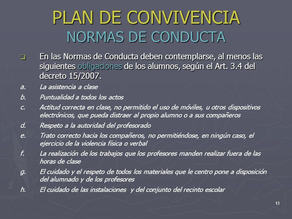 13 PLAN DE CONVIVENCIA NORMAS DE CONDUCTA En las Normas de Conducta deben contemplarse, al menos las siguientes obligaciones de los alumnos, según el