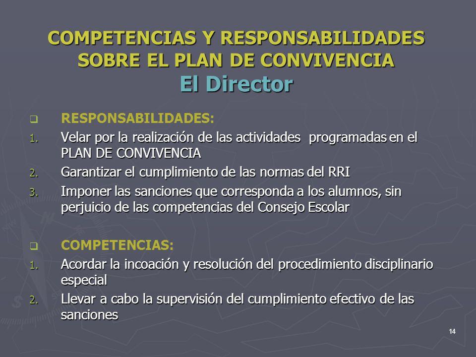 14 COMPETENCIAS Y RESPONSABILIDADES SOBRE EL PLAN DE CONVIVENCIA El Director RESPONSABILIDADES: 1. Velar por la realización de las actividades program