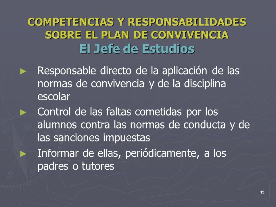 15 COMPETENCIAS Y RESPONSABILIDADES SOBRE EL PLAN DE CONVIVENCIA El Jefe de Estudios Responsable directo de la aplicación de las normas de convivencia