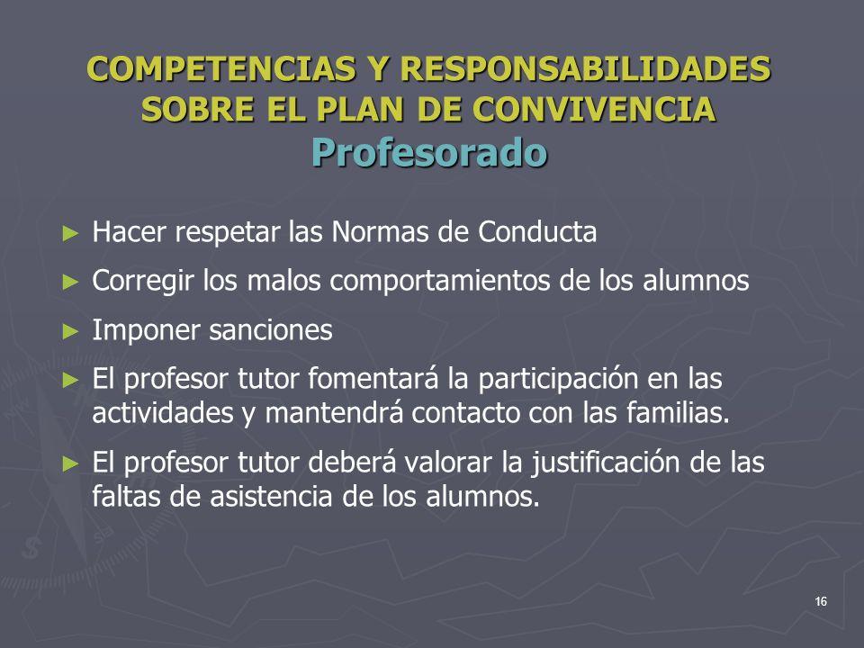 16 COMPETENCIAS Y RESPONSABILIDADES SOBRE EL PLAN DE CONVIVENCIA Profesorado Hacer respetar las Normas de Conducta Corregir los malos comportamientos