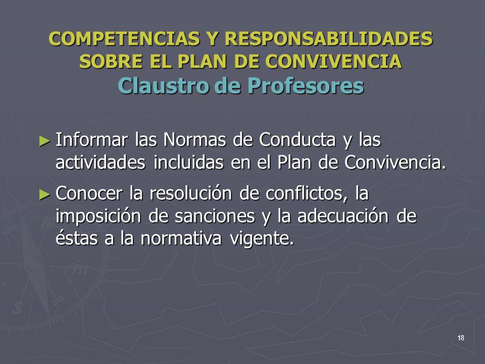 18 COMPETENCIAS Y RESPONSABILIDADES SOBRE EL PLAN DE CONVIVENCIA Claustro de Profesores Informar las Normas de Conducta y las actividades incluidas en