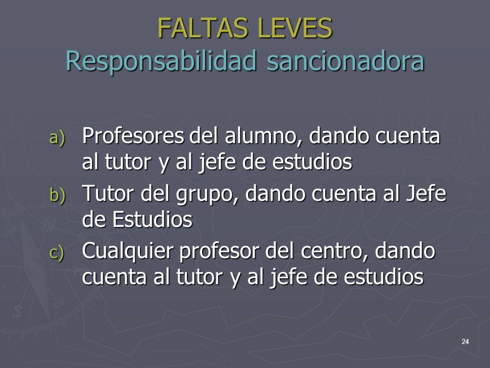 24 FALTAS LEVES Responsabilidad sancionadora a) Profesores del alumno, dando cuenta al tutor y al jefe de estudios b) Tutor del grupo, dando cuenta al