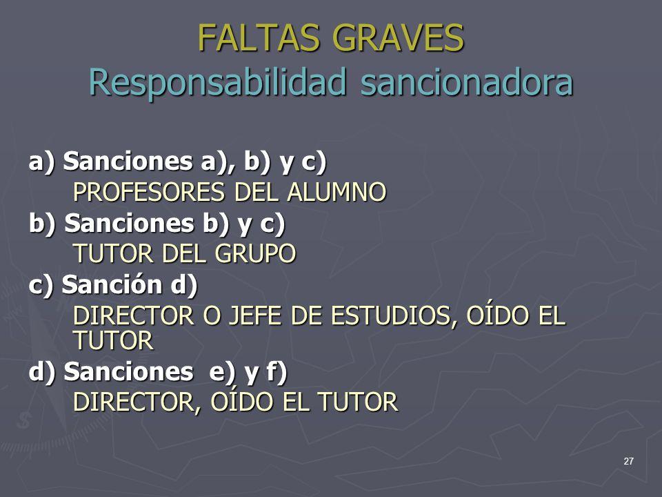 27 FALTAS GRAVES Responsabilidad sancionadora a) Sanciones a), b) y c) PROFESORES DEL ALUMNO b) Sanciones b) y c) TUTOR DEL GRUPO c) Sanción d) DIRECT