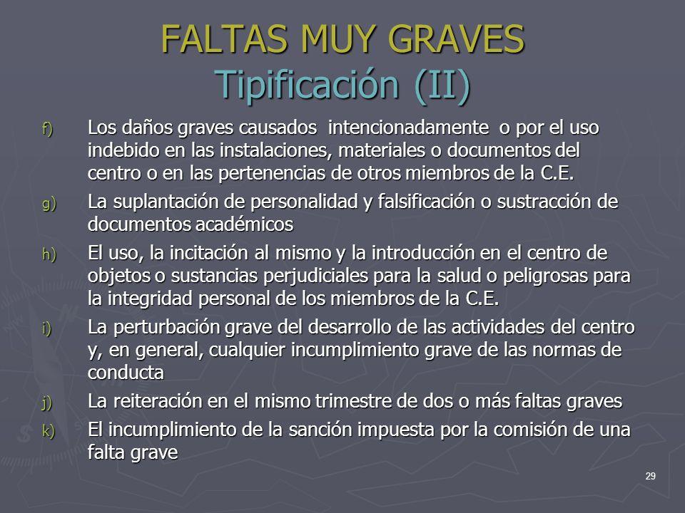 29 FALTAS MUY GRAVES Tipificación (II) f) Los daños graves causados intencionadamente o por el uso indebido en las instalaciones, materiales o documen