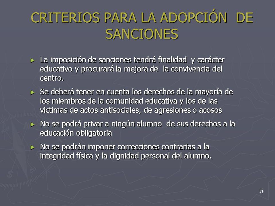 31 CRITERIOS PARA LA ADOPCIÓN DE SANCIONES La imposición de sanciones tendrá finalidad y carácter educativo y procurará la mejora de la convivencia de