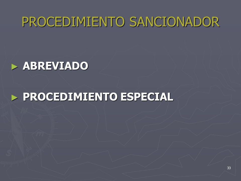 33 PROCEDIMIENTO SANCIONADOR ABREVIADO ABREVIADO PROCEDIMIENTO ESPECIAL PROCEDIMIENTO ESPECIAL