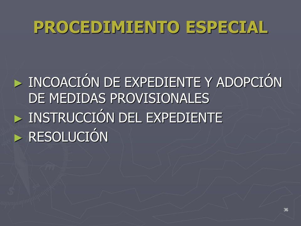 36 PROCEDIMIENTO ESPECIAL INCOACIÓN DE EXPEDIENTE Y ADOPCIÓN DE MEDIDAS PROVISIONALES INCOACIÓN DE EXPEDIENTE Y ADOPCIÓN DE MEDIDAS PROVISIONALES INST