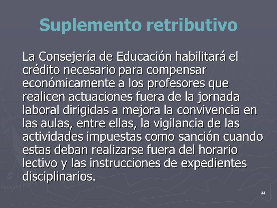 44 Suplemento retributivo La Consejería de Educación habilitará el crédito necesario para compensar económicamente a los profesores que realicen actua