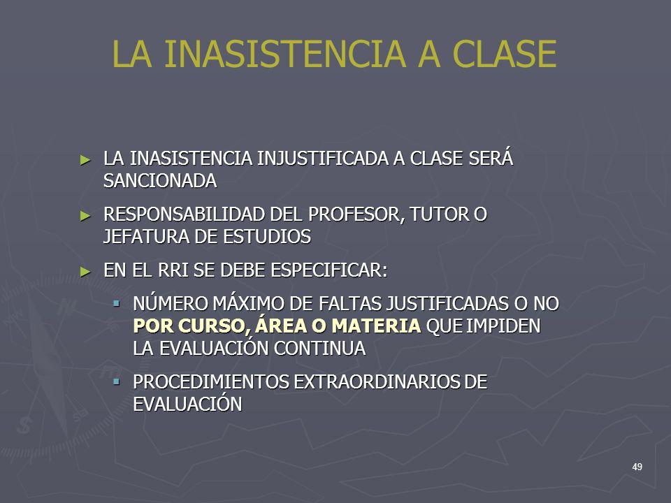 49 LA INASISTENCIA A CLASE LA INASISTENCIA INJUSTIFICADA A CLASE SERÁ SANCIONADA LA INASISTENCIA INJUSTIFICADA A CLASE SERÁ SANCIONADA RESPONSABILIDAD