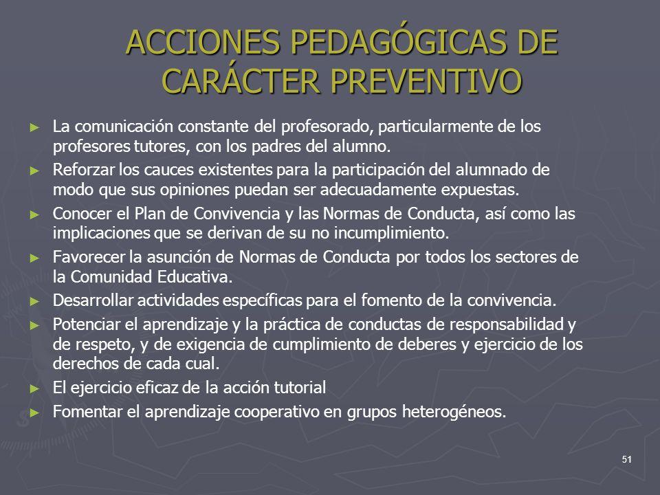 ACCIONES PEDAGÓGICAS DE CARÁCTER PREVENTIVO La comunicación constante del profesorado, particularmente de los profesores tutores, con los padres del a