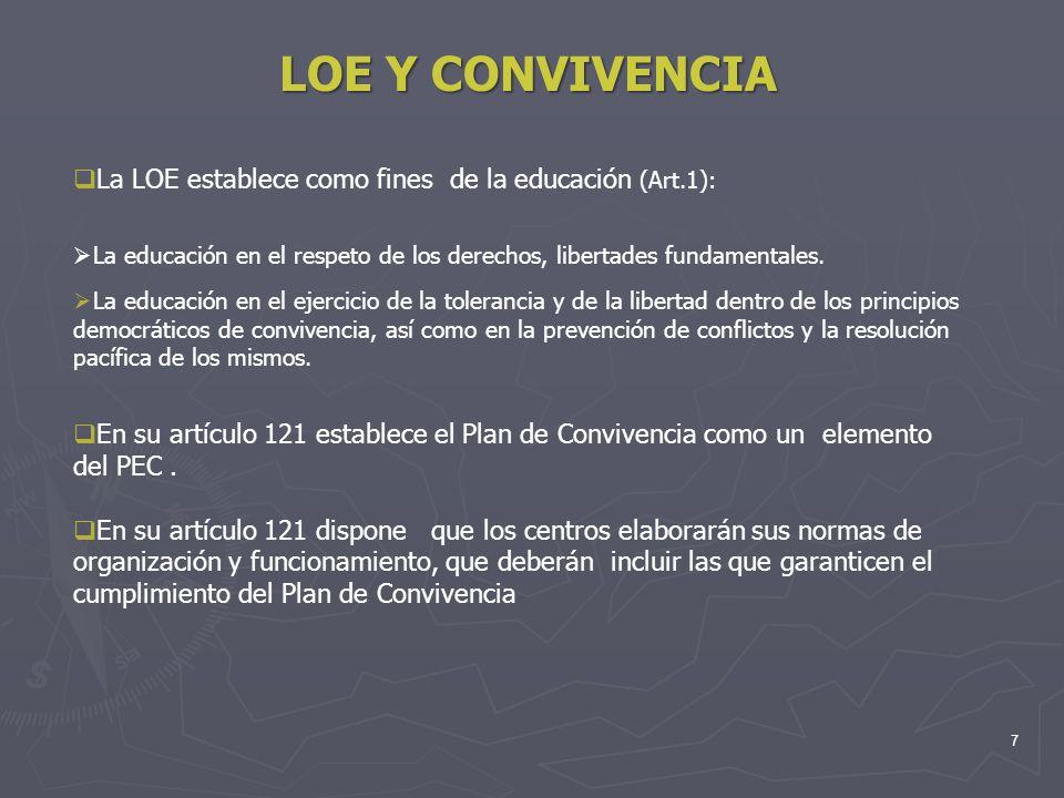 7 LOE Y CONVIVENCIA La LOE establece como fines de la educación (Art.1): La educación en el respeto de los derechos, libertades fundamentales. La educ