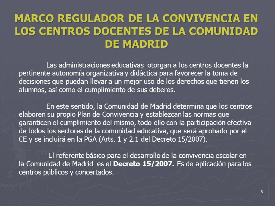 8 MARCO REGULADOR DE LA CONVIVENCIA EN LOS CENTROS DOCENTES DE LA COMUNIDAD DE MADRID Las administraciones educativas otorgan a los centros docentes l