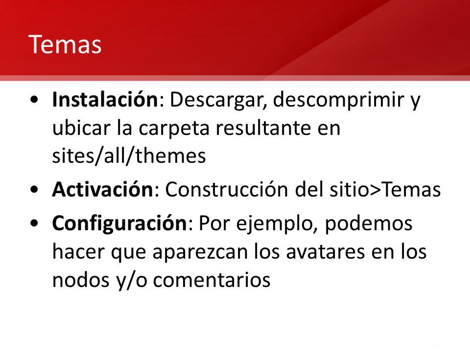 Temas Instalación: Descargar, descomprimir y ubicar la carpeta resultante en sites/all/themes Activación: Construcción del sitio>Temas Configuración: