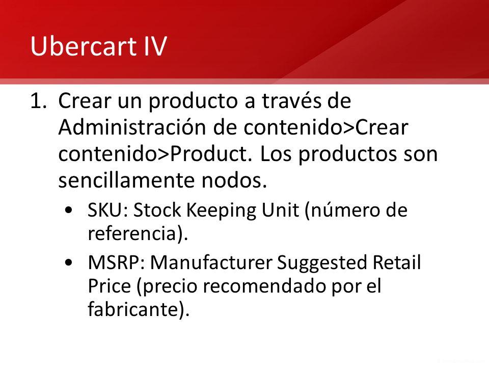 Ubercart IV 1.Crear un producto a través de Administración de contenido>Crear contenido>Product. Los productos son sencillamente nodos. SKU: Stock Kee