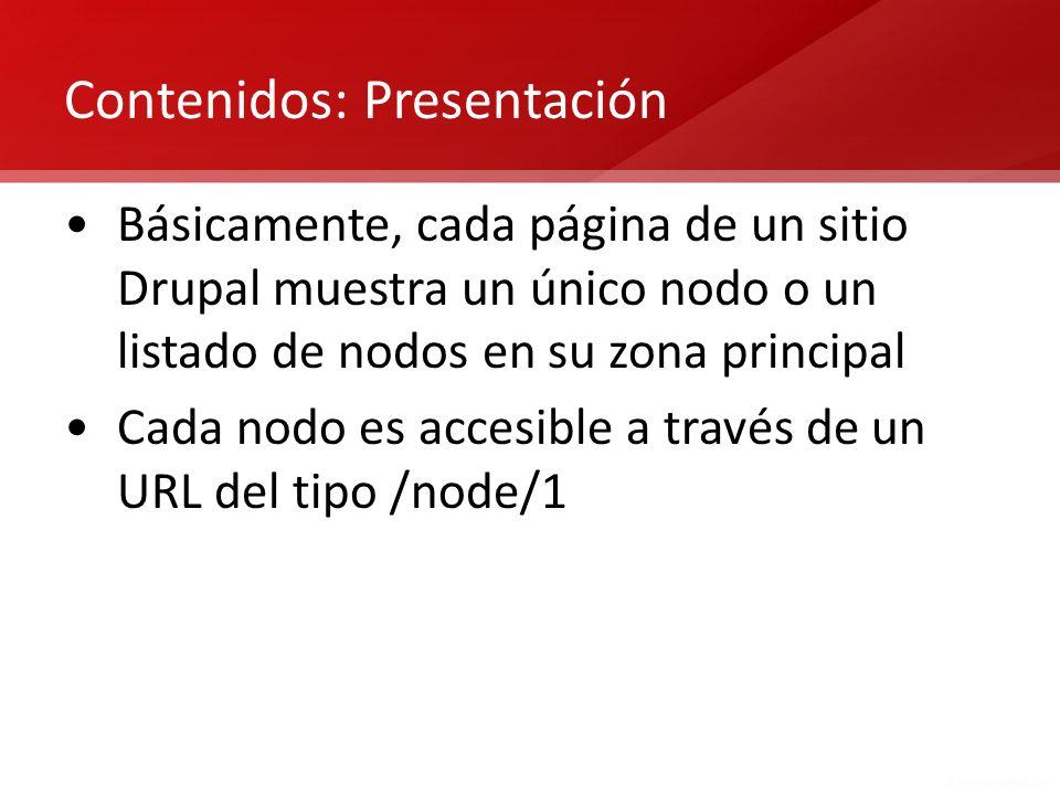 Contenidos: Presentación Básicamente, cada página de un sitio Drupal muestra un único nodo o un listado de nodos en su zona principal Cada nodo es acc