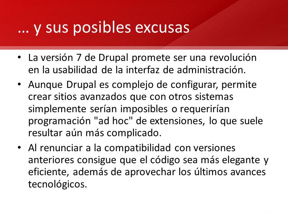 … y sus posibles excusas La versión 7 de Drupal promete ser una revolución en la usabilidad de la interfaz de administración. Aunque Drupal es complej